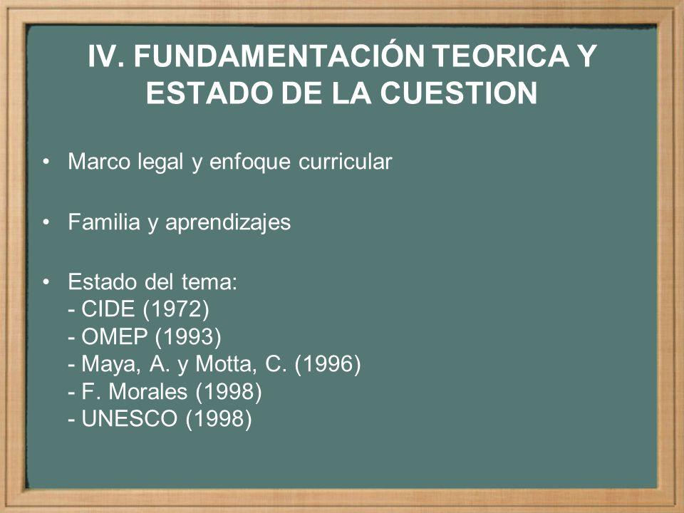 IV. FUNDAMENTACIÓN TEORICA Y ESTADO DE LA CUESTION