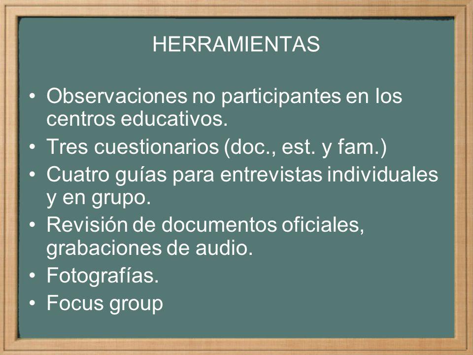 HERRAMIENTAS Observaciones no participantes en los centros educativos. Tres cuestionarios (doc., est. y fam.)