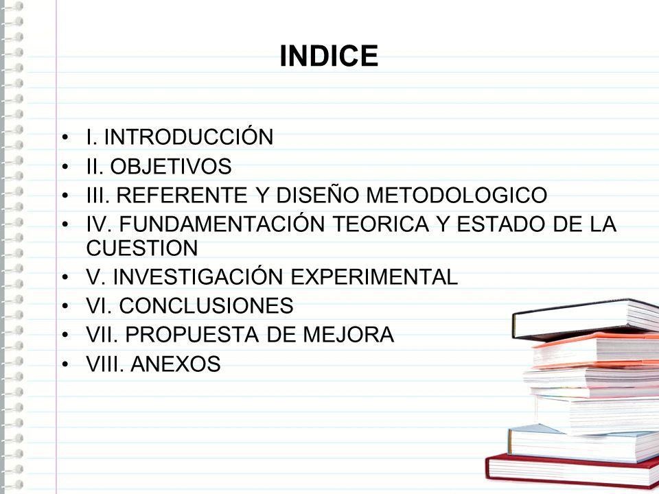 INDICE I. INTRODUCCIÓN II. OBJETIVOS