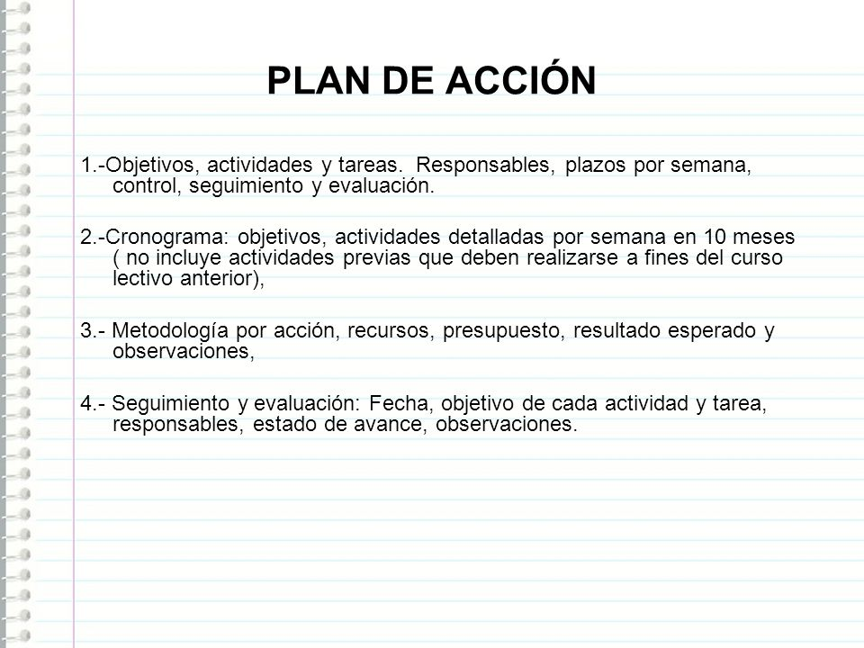 PLAN DE ACCIÓN 1.-Objetivos, actividades y tareas. Responsables, plazos por semana, control, seguimiento y evaluación.