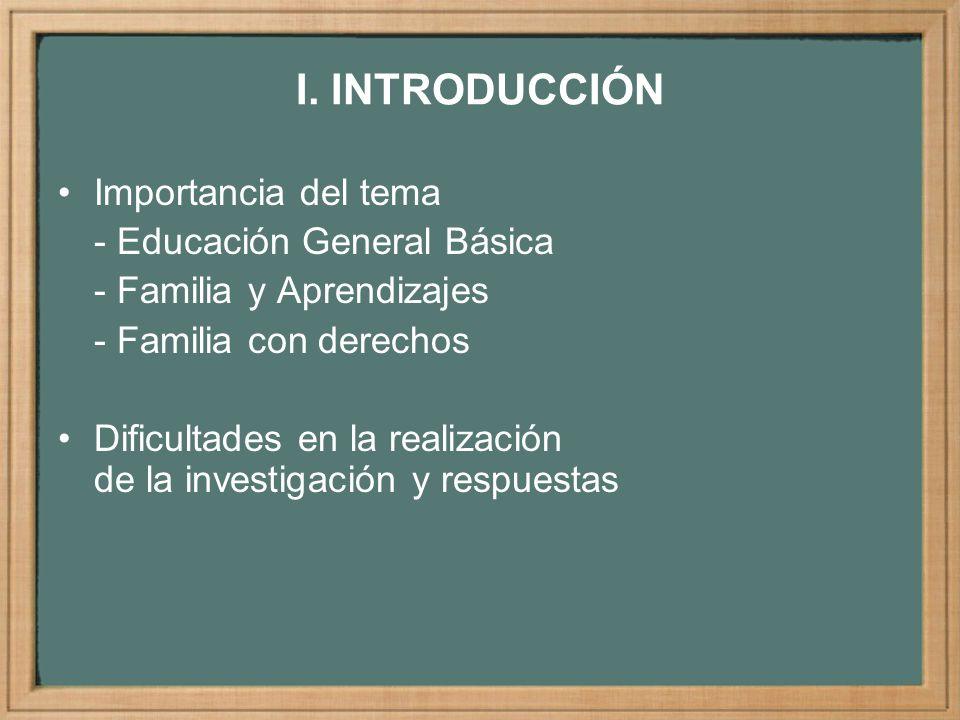 I. INTRODUCCIÓN Importancia del tema - Educación General Básica