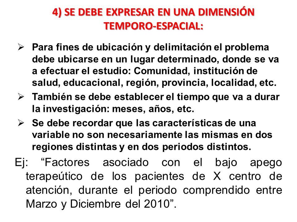 4) SE DEBE EXPRESAR EN UNA DIMENSIÓN TEMPORO-ESPACIAL: