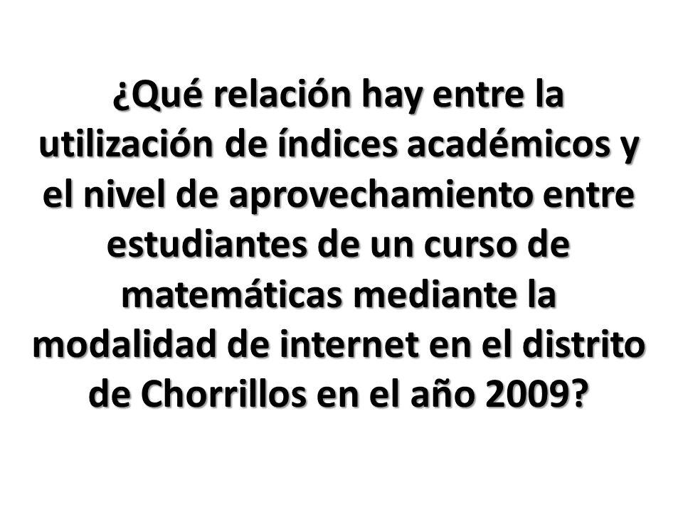 ¿Qué relación hay entre la utilización de índices académicos y el nivel de aprovechamiento entre estudiantes de un curso de matemáticas mediante la modalidad de internet en el distrito de Chorrillos en el año 2009