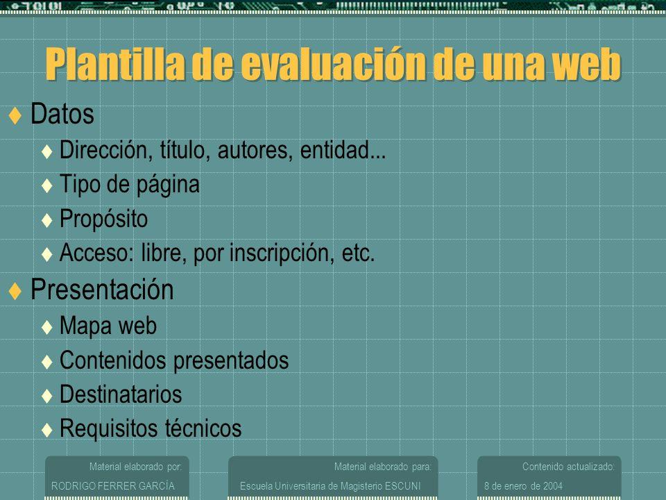 Plantilla de evaluación de una web