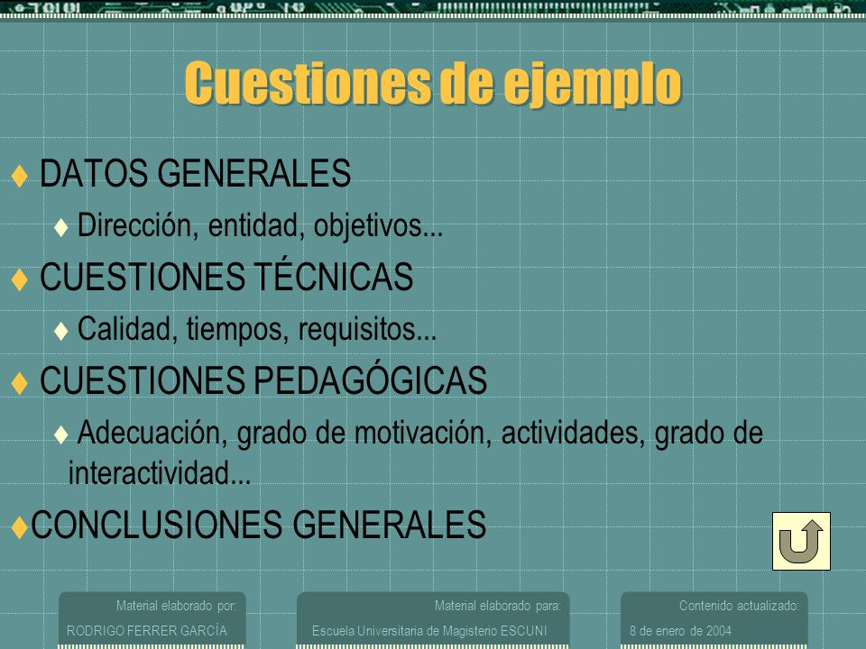 Cuestiones de ejemplo DATOS GENERALES CUESTIONES TÉCNICAS