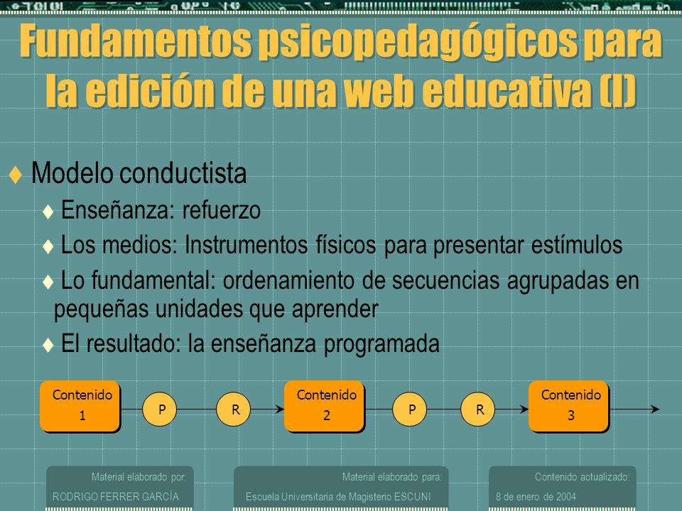 Fundamentos psicopedagógicos para la edición de una web educativa (I)