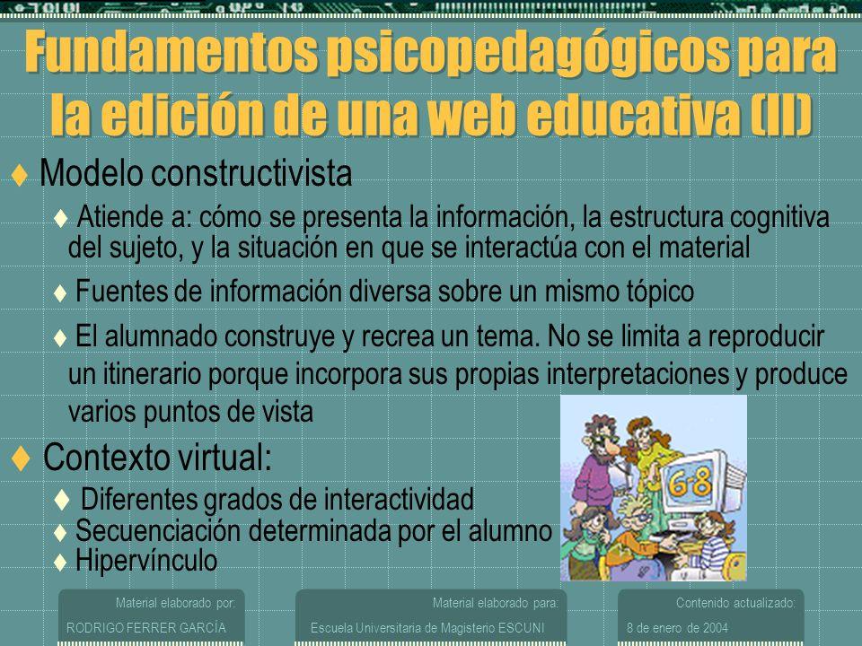Fundamentos psicopedagógicos para la edición de una web educativa (II)