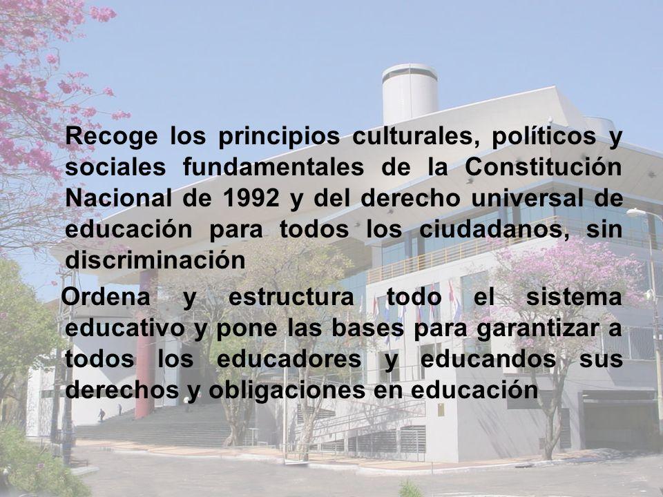 Recoge los principios culturales, políticos y sociales fundamentales de la Constitución Nacional de 1992 y del derecho universal de educación para todos los ciudadanos, sin discriminación