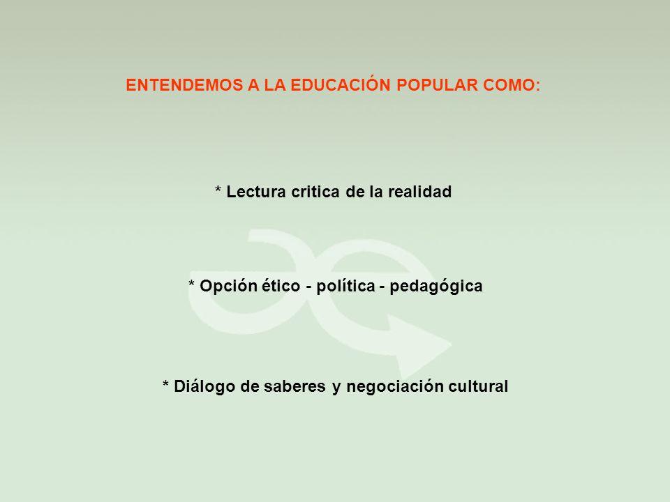 ENTENDEMOS A LA EDUCACIÓN POPULAR COMO: