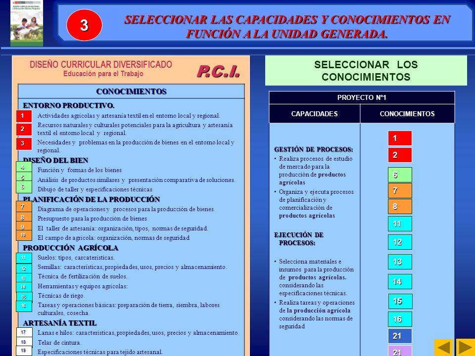 3 SELECCIONAR LAS CAPACIDADES Y CONOCIMIENTOS EN FUNCIÓN A LA UNIDAD GENERADA. SELECCIONAR LOS CONOCIMIENTOS.