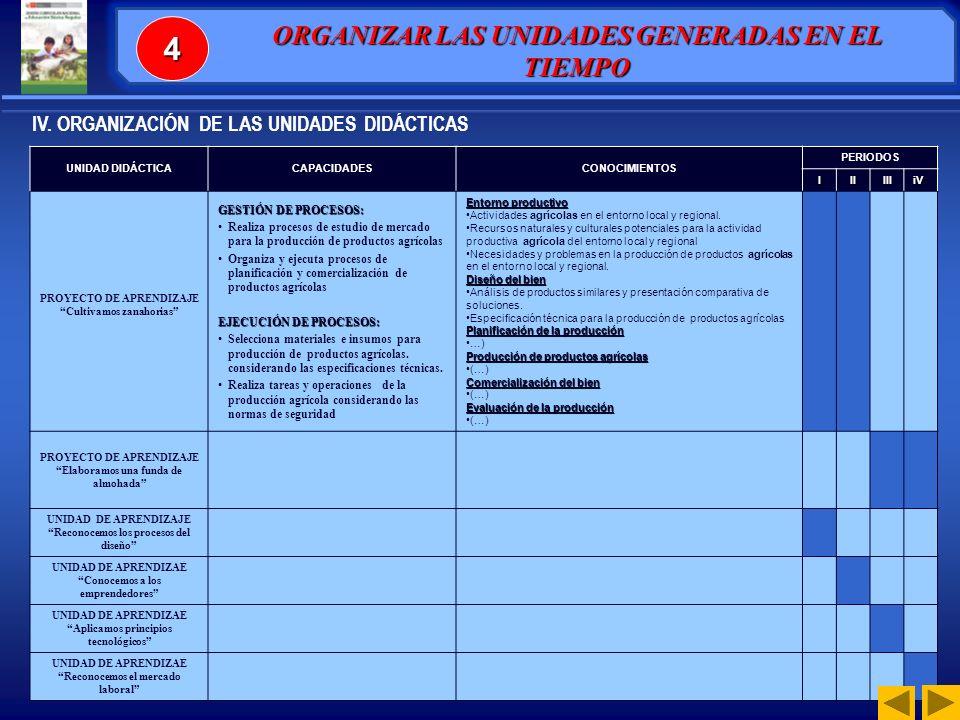 4 ORGANIZAR LAS UNIDADES GENERADAS EN EL TIEMPO