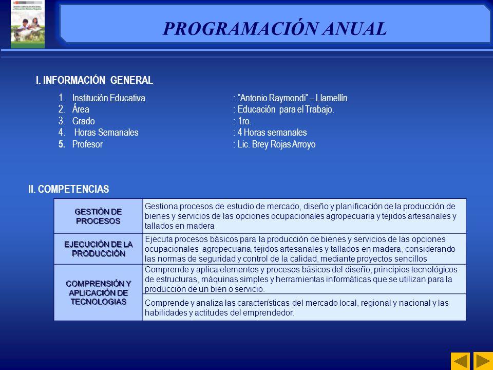 PROGRAMACIÓN ANUAL I. INFORMACIÓN GENERAL II. COMPETENCIAS