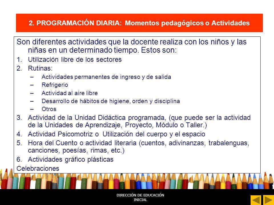 2. PROGRAMACIÓN DIARIA: Momentos pedagógicos o Actividades