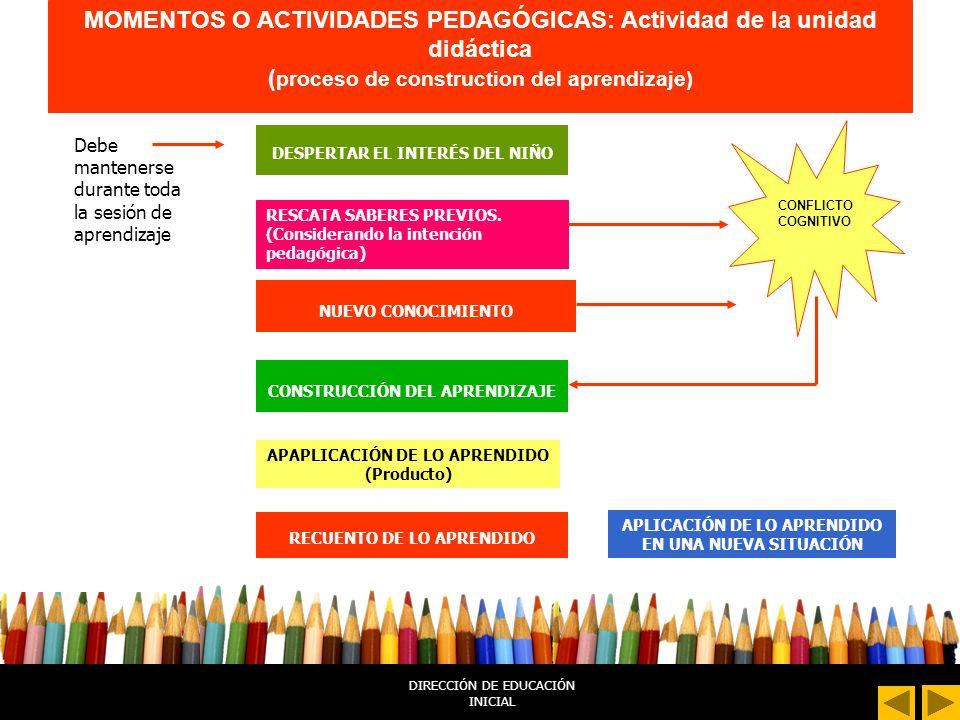 MOMENTOS O ACTIVIDADES PEDAGÓGICAS: Actividad de la unidad didáctica (proceso de construction del aprendizaje)