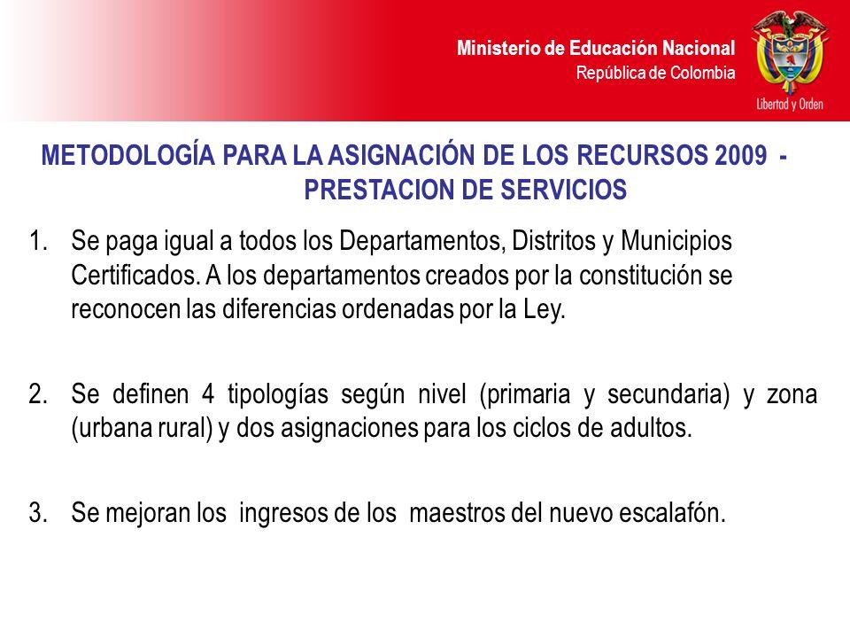 METODOLOGÍA PARA LA ASIGNACIÓN DE LOS RECURSOS 2009 -