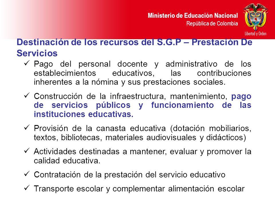 Destinación de los recursos del S.G.P – Prestación De Servicios