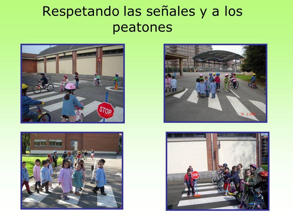 Respetando las señales y a los peatones