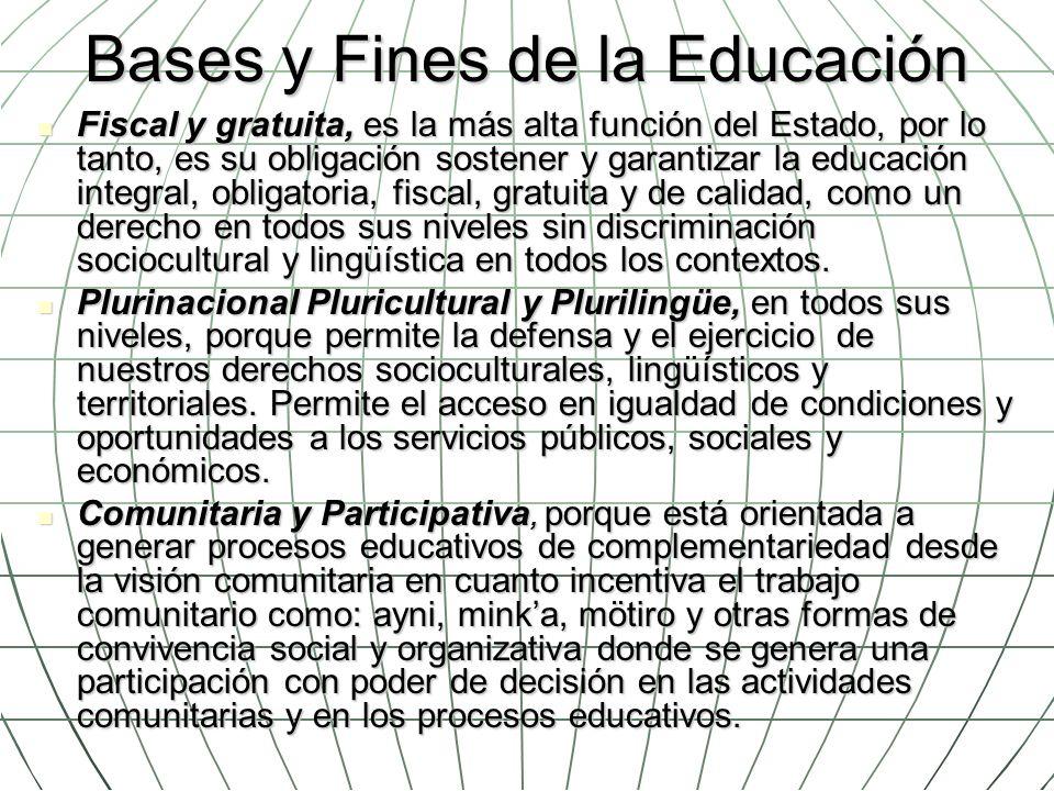 Bases y Fines de la Educación