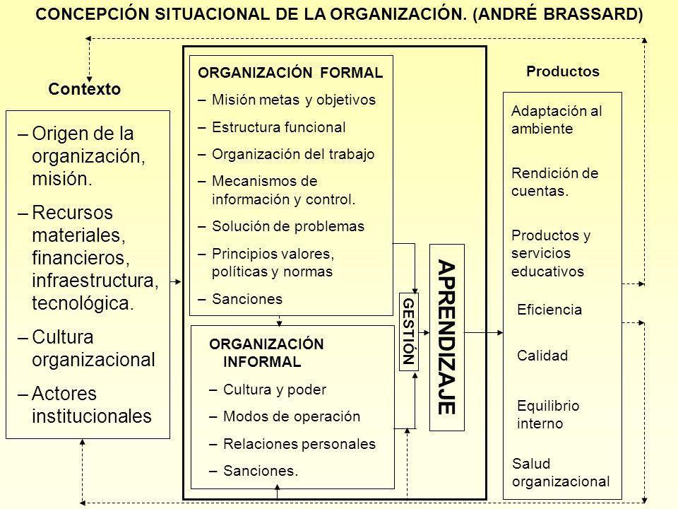 CONCEPCIÓN SITUACIONAL DE LA ORGANIZACIÓN. (ANDRÉ BRASSARD)