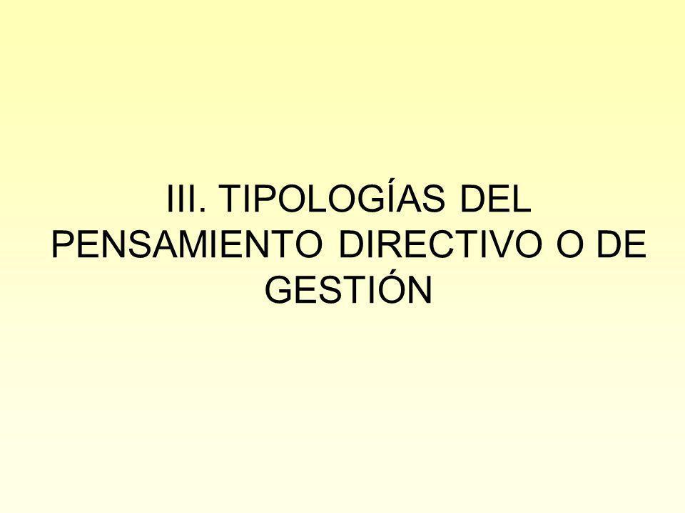 III. TIPOLOGÍAS DEL PENSAMIENTO DIRECTIVO O DE GESTIÓN