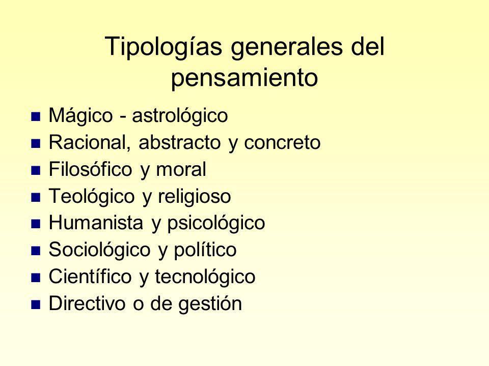 Tipologías generales del pensamiento
