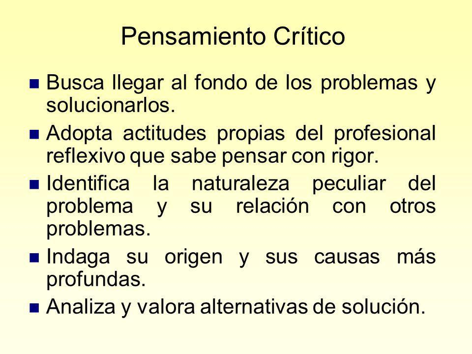 Pensamiento Crítico Busca llegar al fondo de los problemas y solucionarlos.