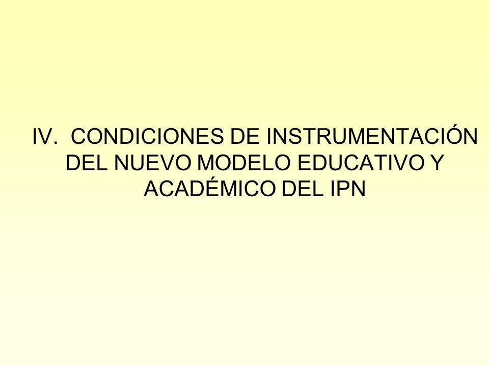 IV. CONDICIONES DE INSTRUMENTACIÓN DEL NUEVO MODELO EDUCATIVO Y ACADÉMICO DEL IPN