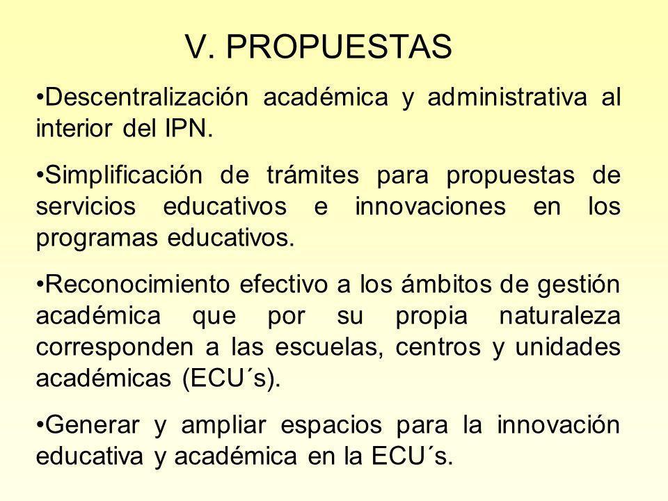 V. PROPUESTAS Descentralización académica y administrativa al interior del IPN.