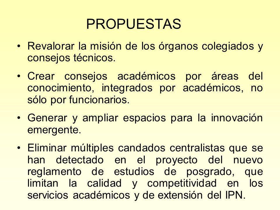 PROPUESTAS Revalorar la misión de los órganos colegiados y consejos técnicos.