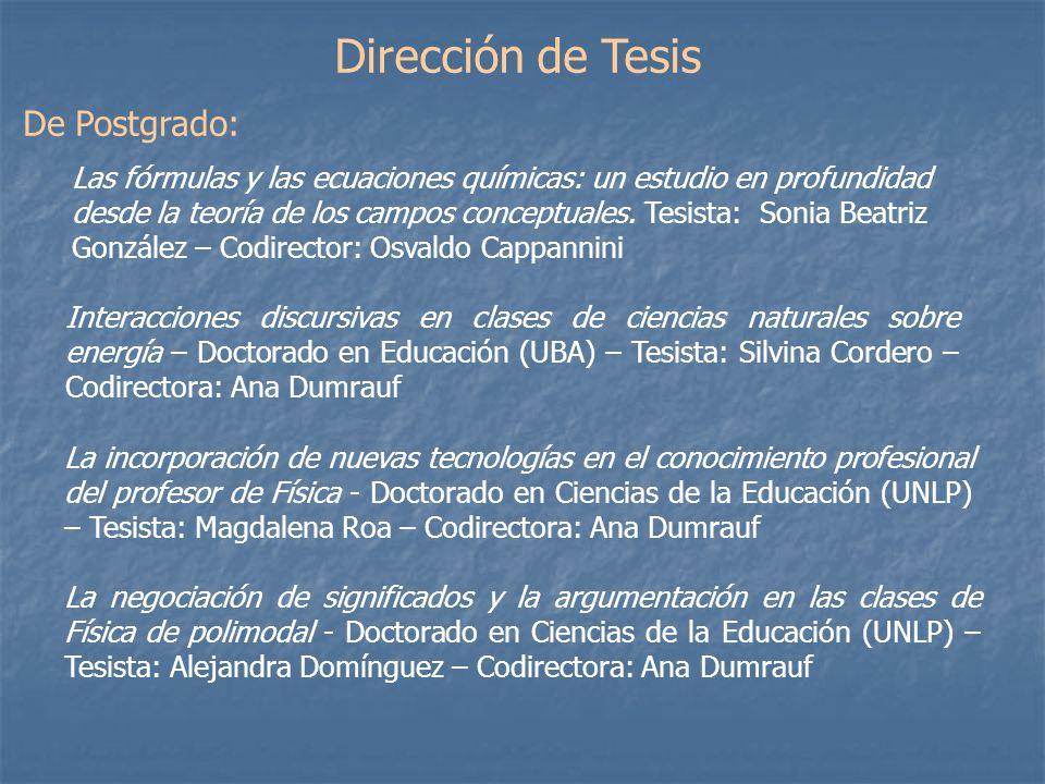 Dirección de Tesis De Postgrado: