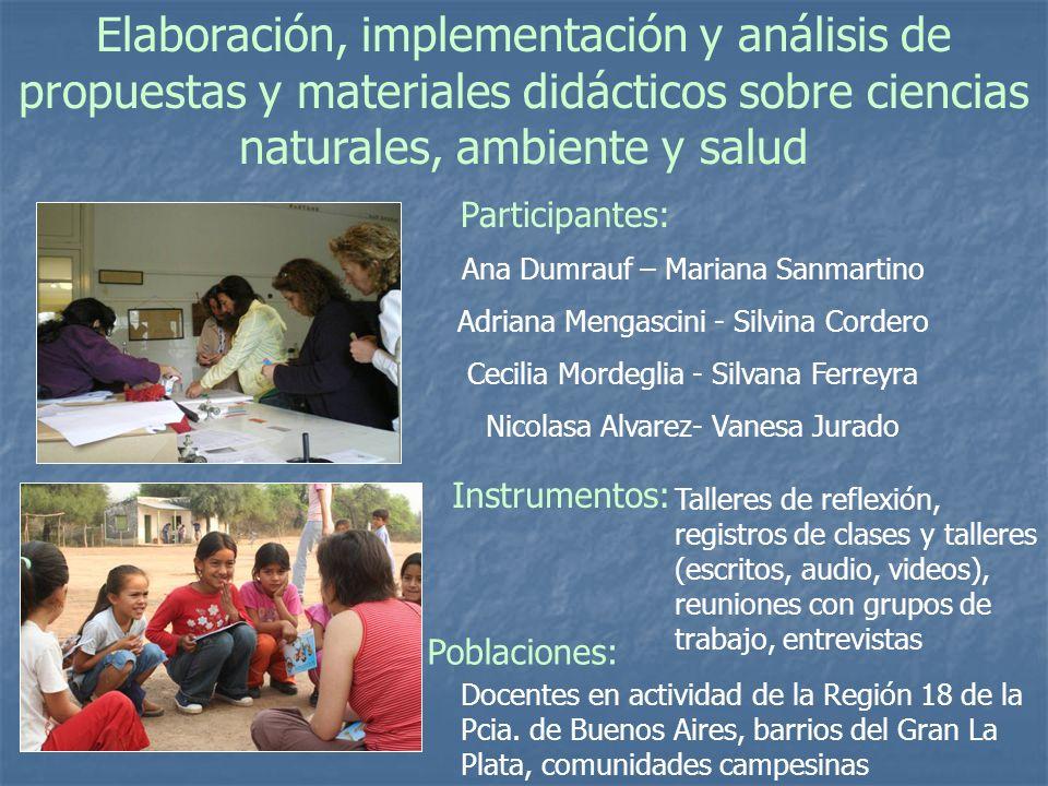 Elaboración, implementación y análisis de propuestas y materiales didácticos sobre ciencias naturales, ambiente y salud
