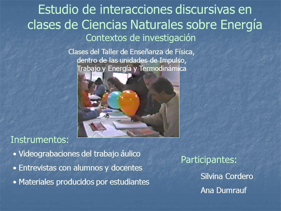 Estudio de interacciones discursivas en clases de Ciencias Naturales sobre Energía