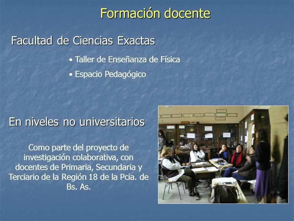 Formación docente Facultad de Ciencias Exactas