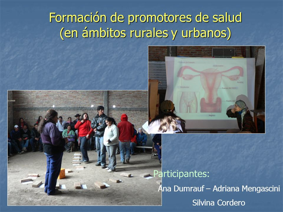 Formación de promotores de salud (en ámbitos rurales y urbanos)
