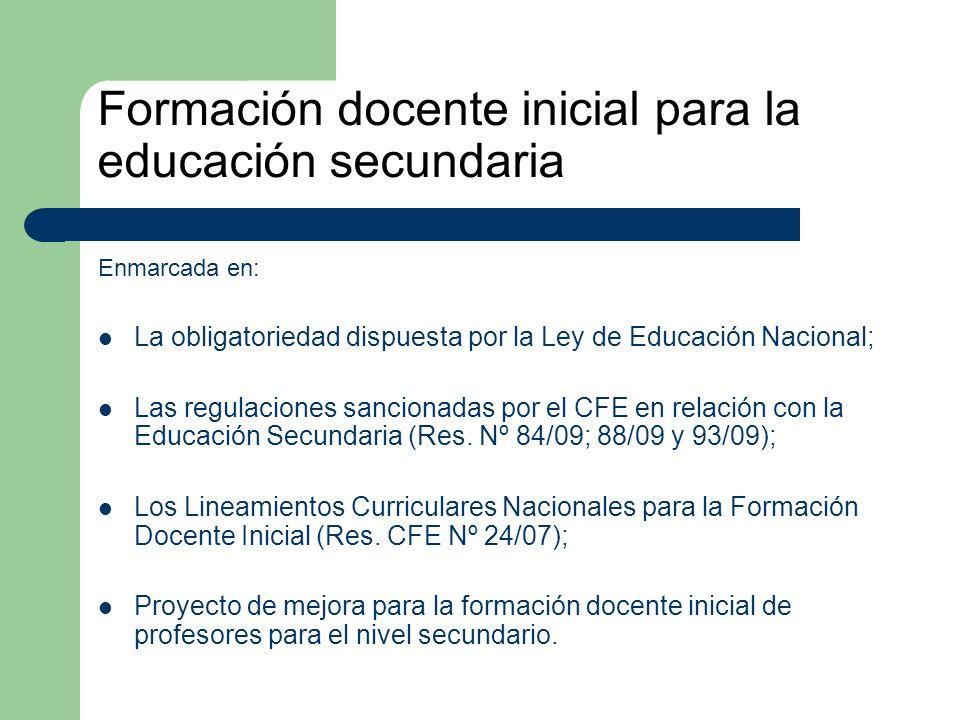 Formación docente inicial para la educación secundaria