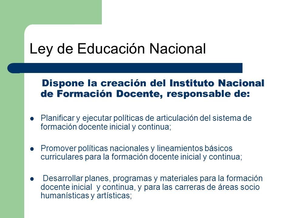Ley de Educación Nacional