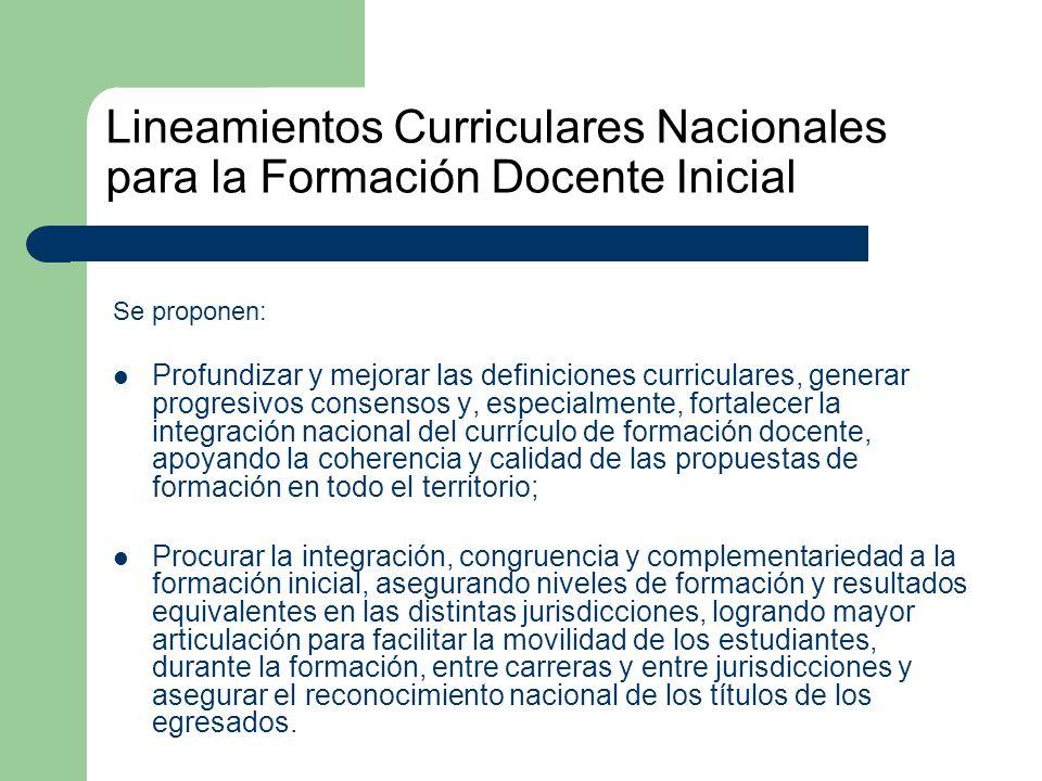 Lineamientos Curriculares Nacionales para la Formación Docente Inicial