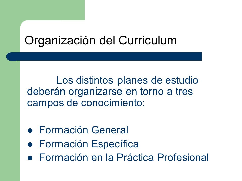 Organización del Curriculum