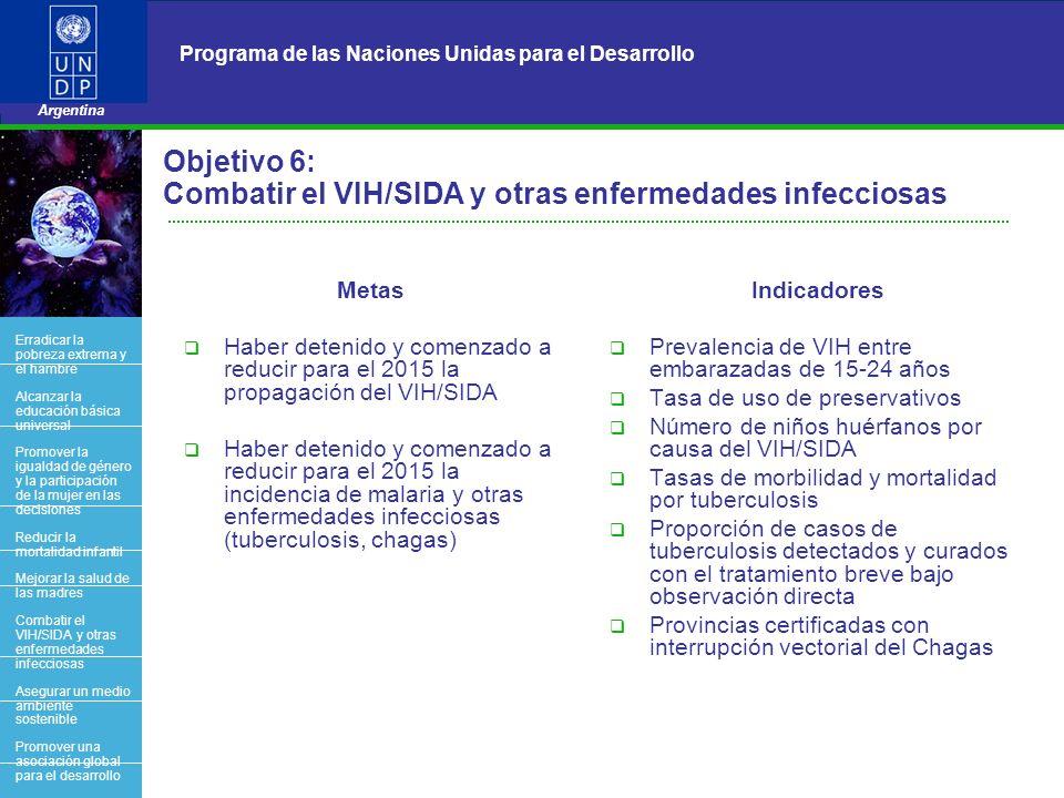 Objetivo 6: Combatir el VIH/SIDA y otras enfermedades infecciosas