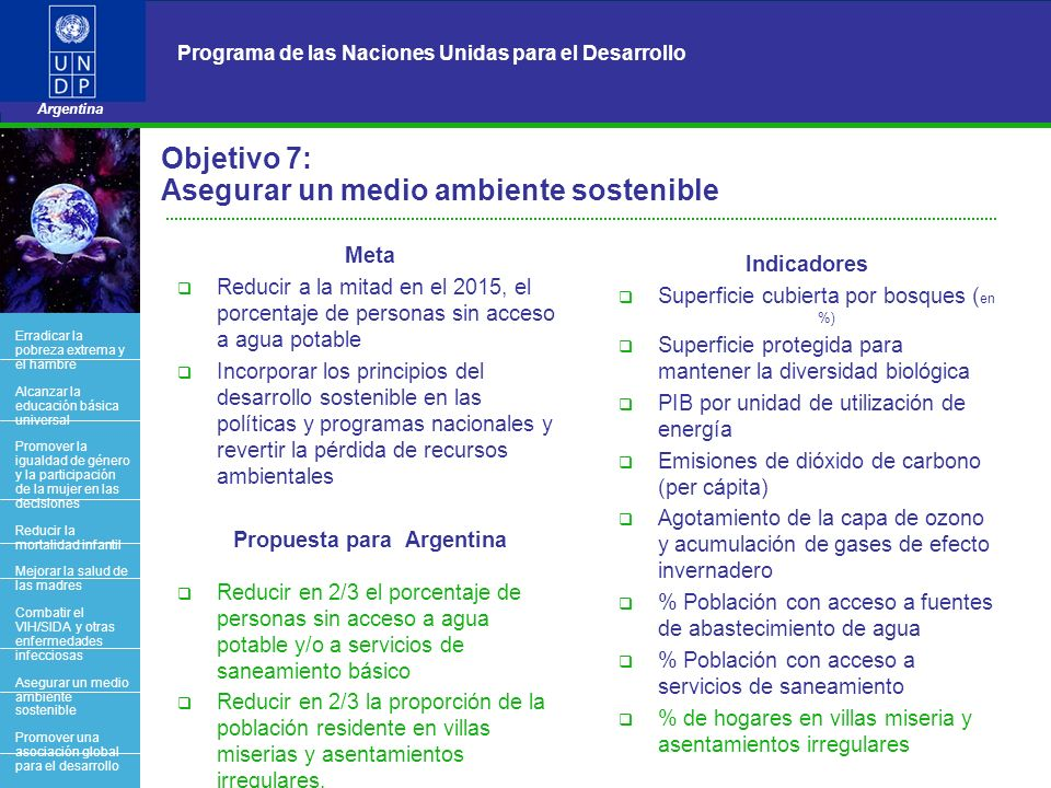 Objetivo 7: Asegurar un medio ambiente sostenible