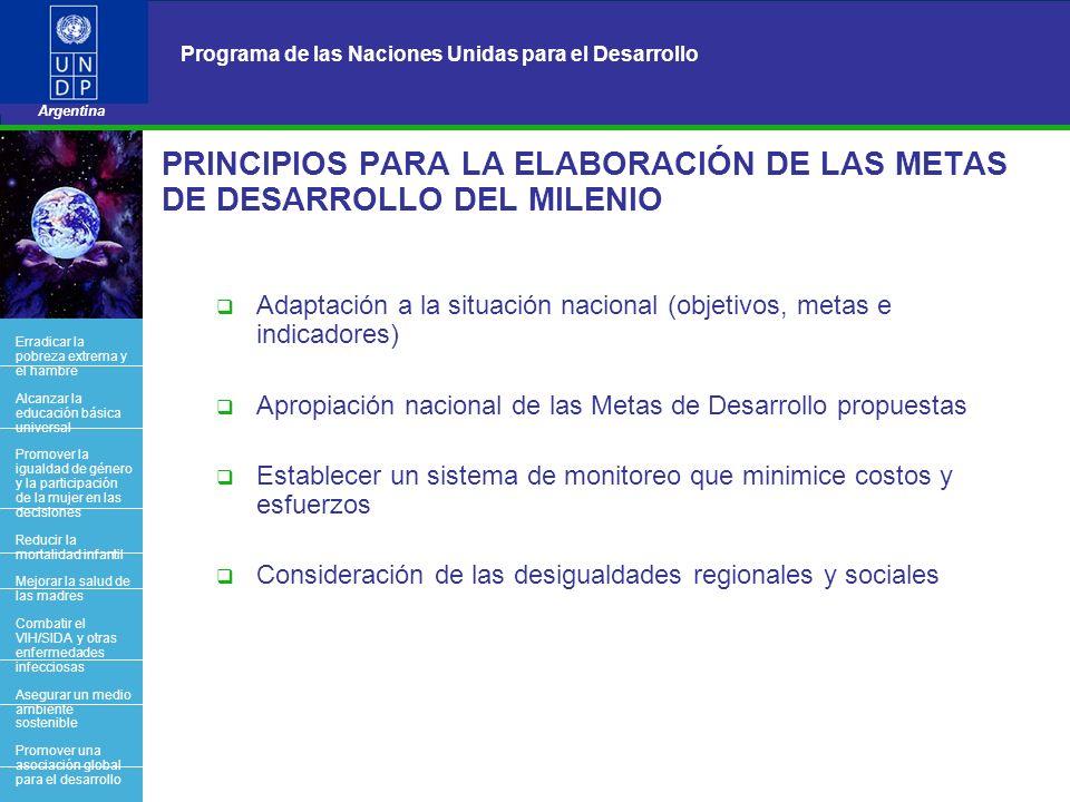 PRINCIPIOS PARA LA ELABORACIÓN DE LAS METAS DE DESARROLLO DEL MILENIO