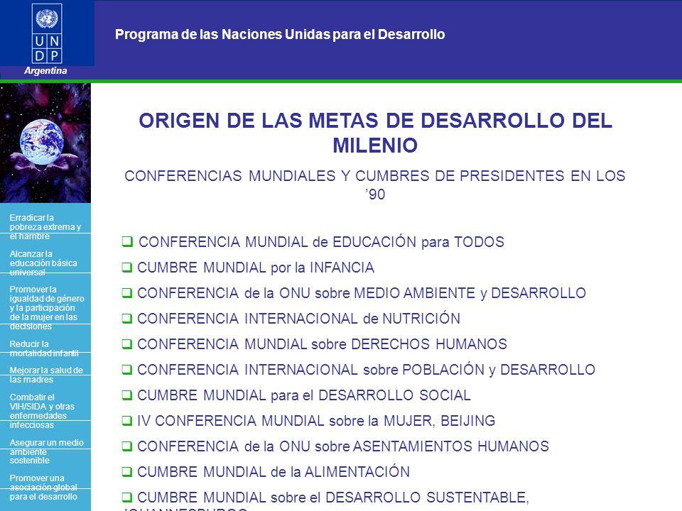 ORIGEN DE LAS METAS DE DESARROLLO DEL MILENIO