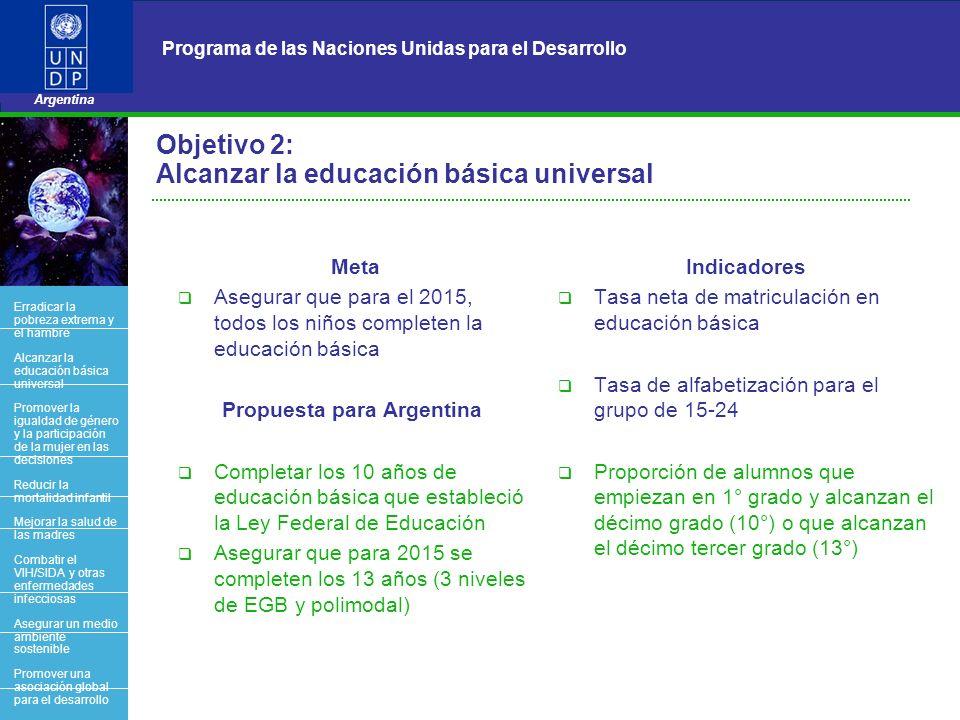 Objetivo 2: Alcanzar la educación básica universal