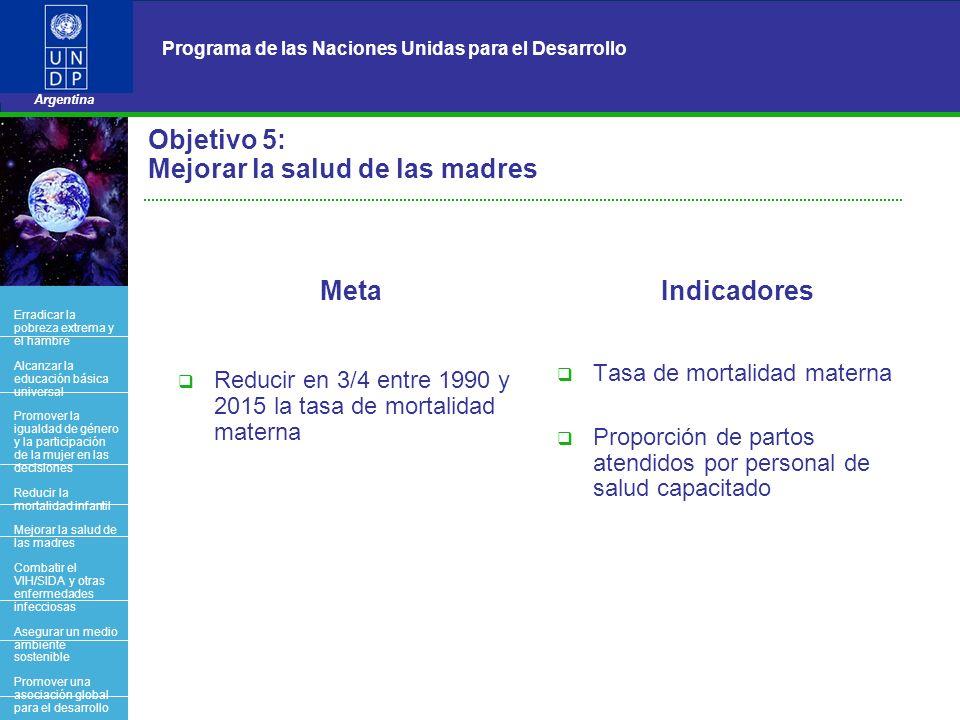 Objetivo 5: Mejorar la salud de las madres