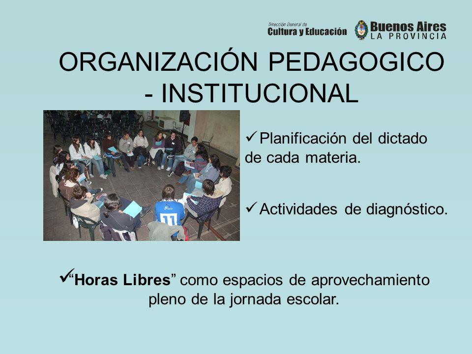 ORGANIZACIÓN PEDAGOGICO - INSTITUCIONAL