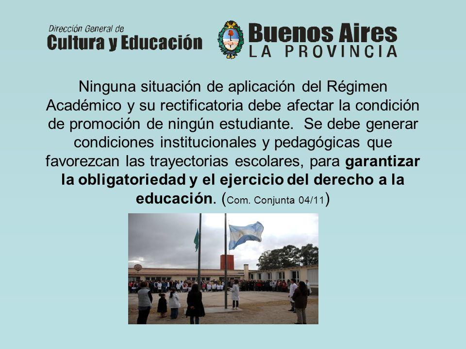 Ninguna situación de aplicación del Régimen Académico y su rectificatoria debe afectar la condición de promoción de ningún estudiante.