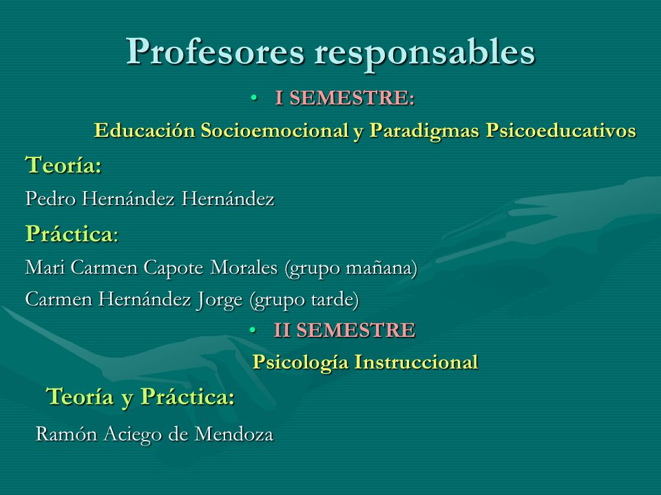 Profesores responsables