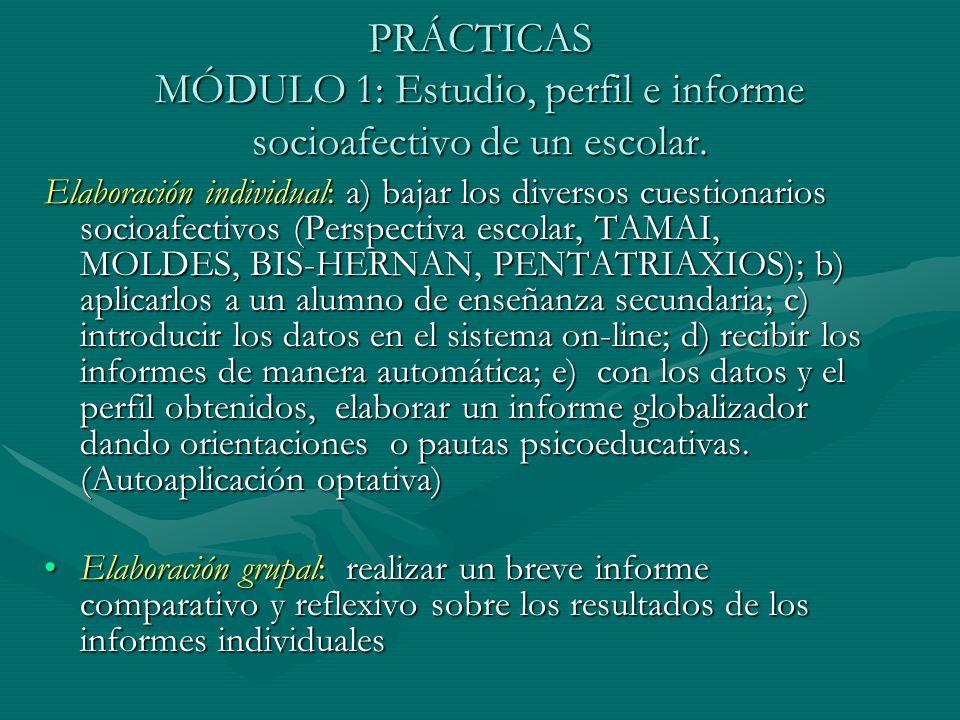 PRÁCTICAS MÓDULO 1: Estudio, perfil e informe socioafectivo de un escolar.