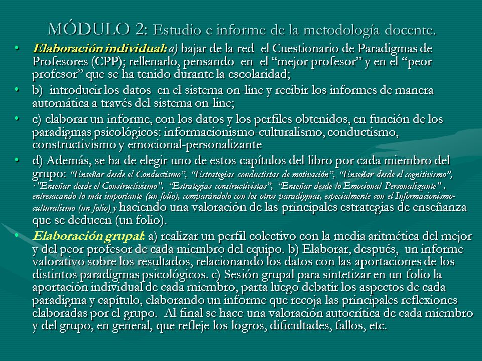 MÓDULO 2: Estudio e informe de la metodología docente.