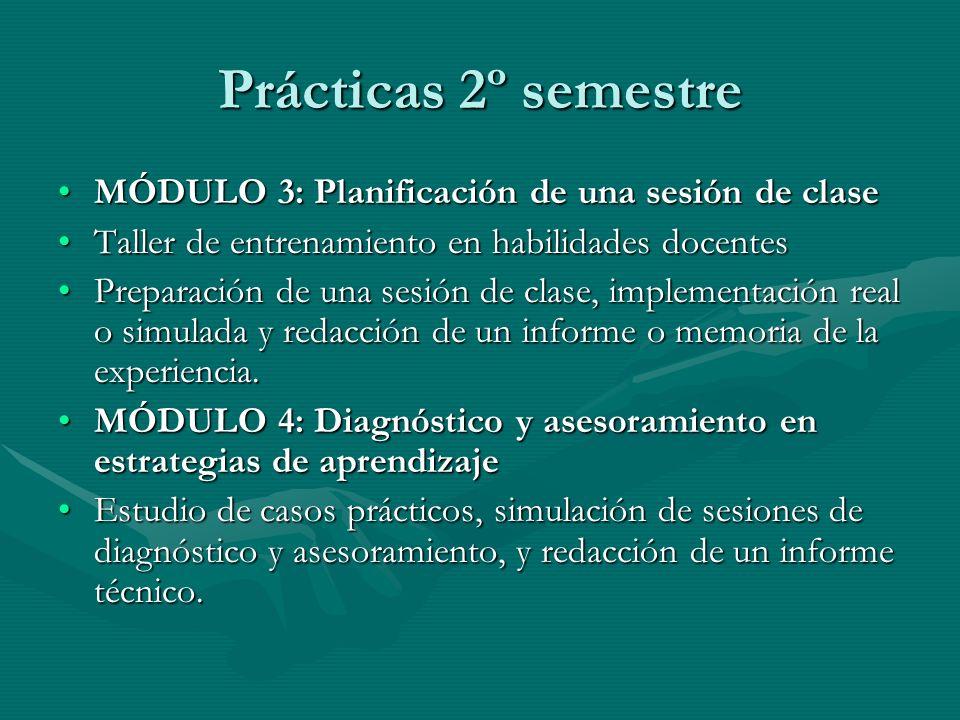 Prácticas 2º semestre MÓDULO 3: Planificación de una sesión de clase